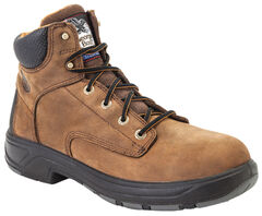 """Georgia Flxpoint Waterproof 6"""" Work Boots - Safety Toe, Brown, hi-res"""