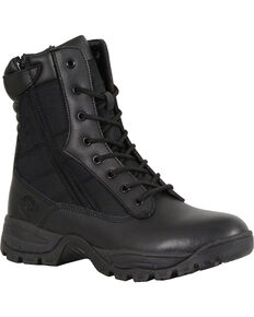 "Milwaukee Leather Men's Black 9"" Leather Tactical Boots - Round Toe , Black, hi-res"