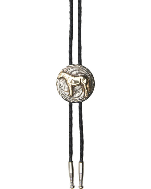 AndWest Men's Standing Horse Bolo Tie, Gold, hi-res