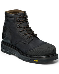 Justin Men's Warhawk Waterproof Lace-Up Work Boots - Composite Toe, Black, hi-res