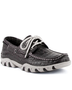 Ferrini Men's Croc Print Rogue Driving Shoes - Moc Toe, Black, hi-res