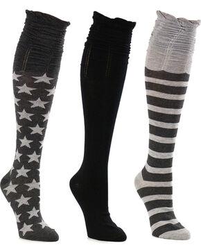 La De Da Women's Stars and Stripes Scrunch Knee High Sock Set, Charcoal, hi-res