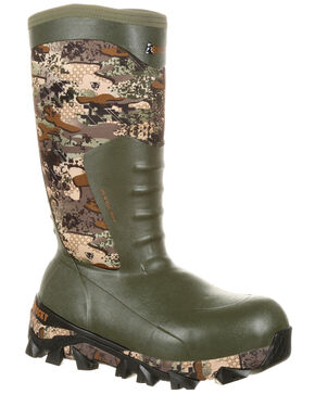 Rocky Men's Claw Rubber Waterproof Hunting Boots - Round Toe, Camouflage, hi-res
