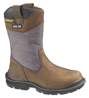 "Caterpillar Grist 11"" Waterproof Wellington Boots - Steel Toe, Dark Brown, hi-res"