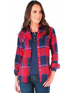 Wrangler Women's Navy Flannel Plaid Shirt , Multi, hi-res