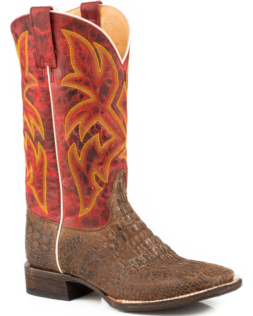 Roper Men's Caiman Embossed Western Boots - Square Toe , Tan, hi-res