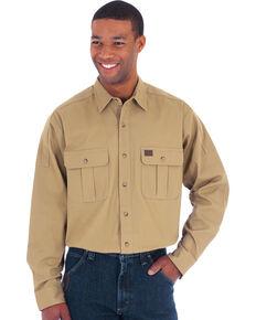 Wrangler Men's Tan RIGGS Solid Workwear Advanced Comfort Long Sleeve Work Shirt , Tan, hi-res