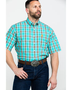 Cinch Men's Turquoise Plaid Short Sleeve Western Shirt  , Turquoise, hi-res