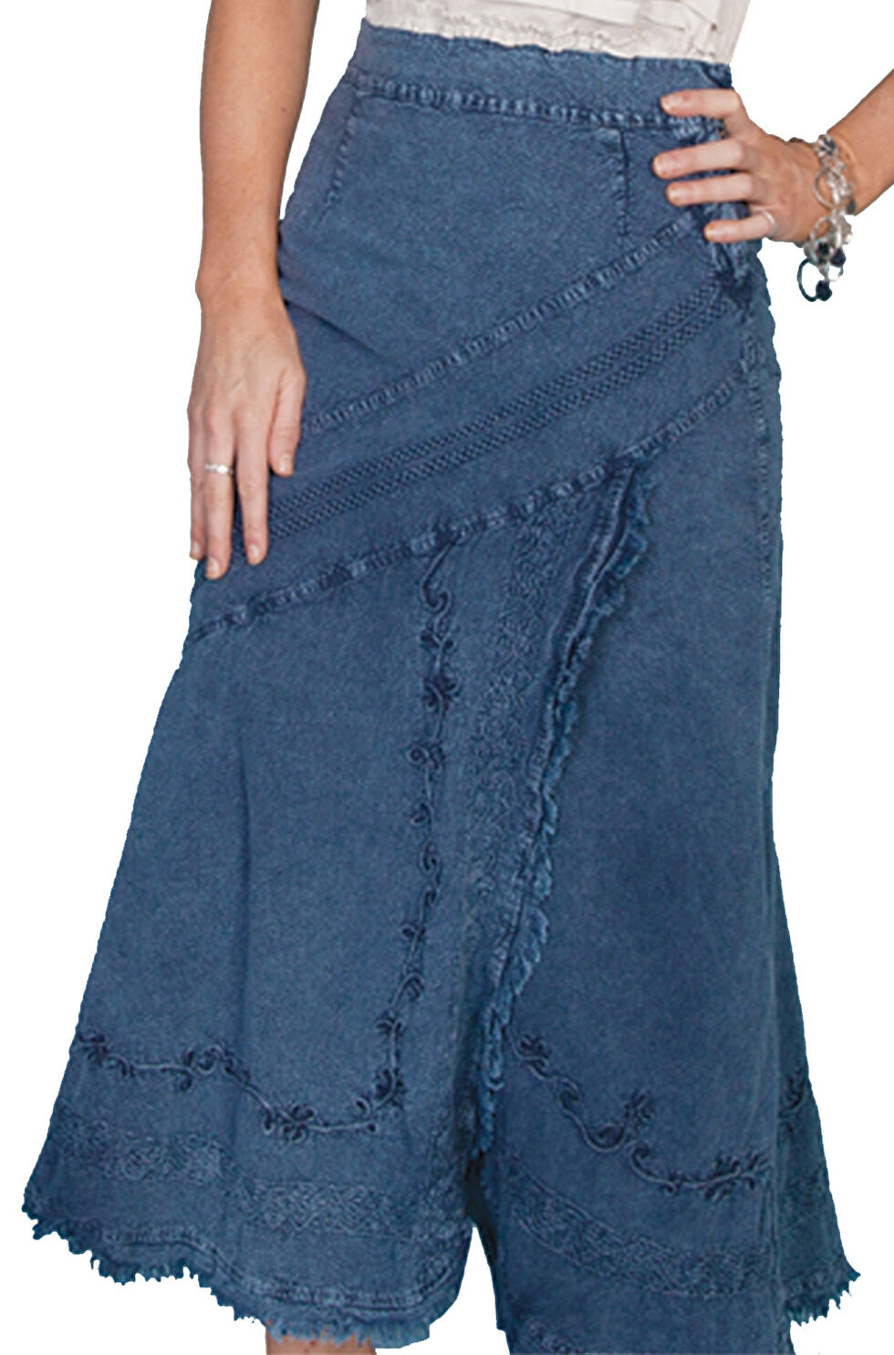 Scully Embroidered Western Skirt, Dark Blue, hi-res