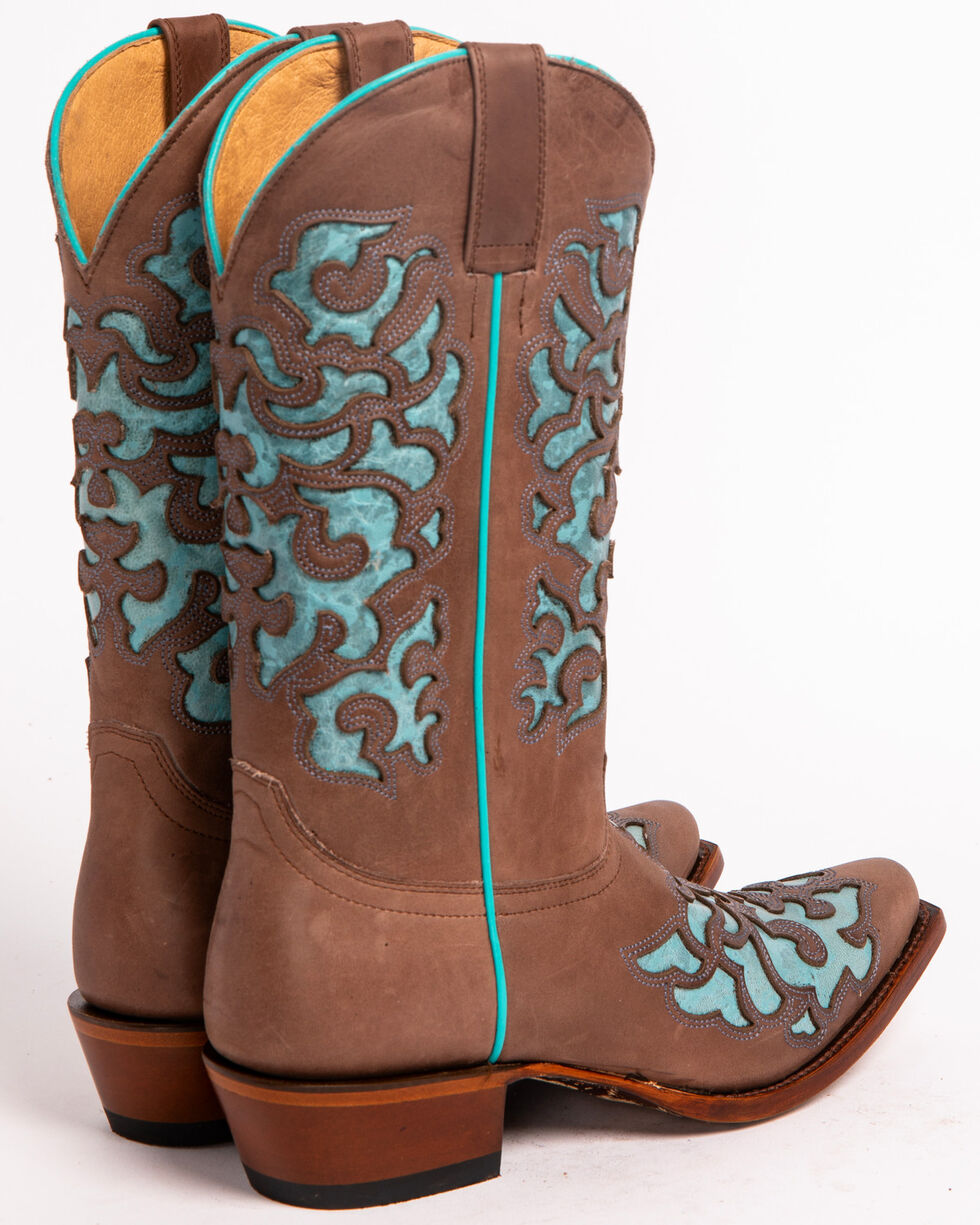 Shyanne Women's Ornate Overlay Western Boots - Snip Toe, Brown, hi-res