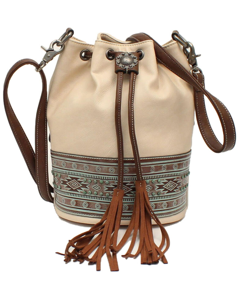 Blazin Roxx Women's Aztec Bucket Bag , White, hi-res