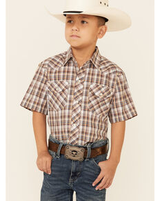 Roper Boys' Brown Plaid Short Sleeve Snap Western Shirt , Brown, hi-res