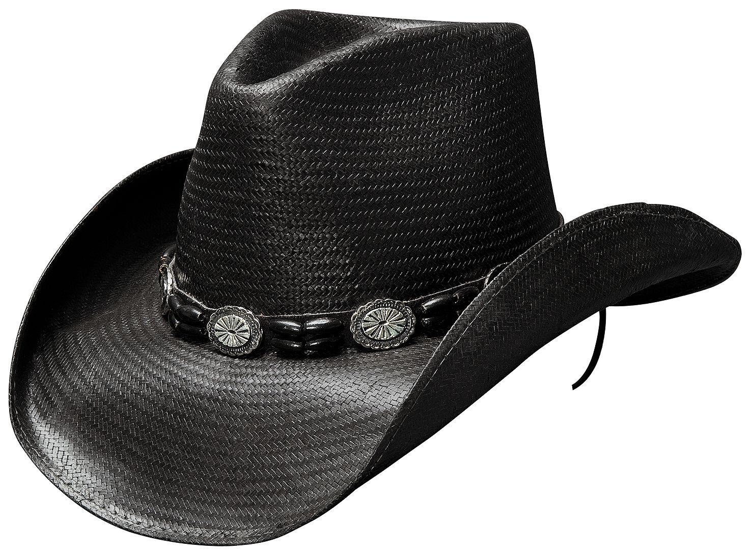 Cowboy Hat Straw Hat Cowboy Hat Hat with hatband Black//White Flamed