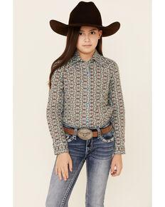 Cruel Girl Girls' Blue Geo Print Long Sleeve Western Shirt , Light Blue, hi-res