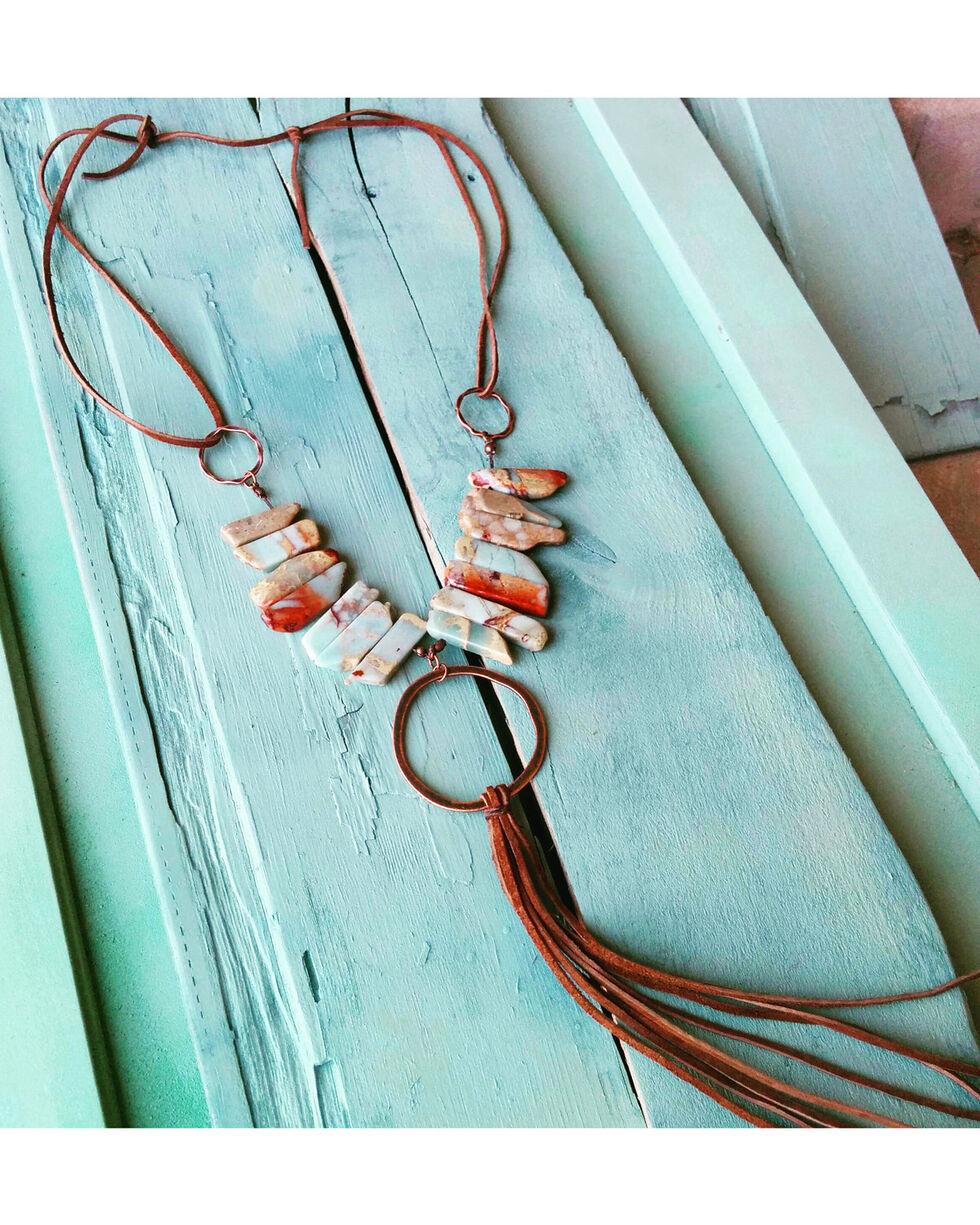 Jewelry Junkie Hammered Hoop on Aqua Terra Necklace, Aqua, hi-res