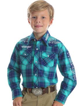 Wrangler Boys' Turquoise Logo Embroidered Shirt , Turquoise, hi-res