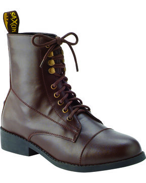 Saxon Women's Equileather Lace Boots, Brown, hi-res