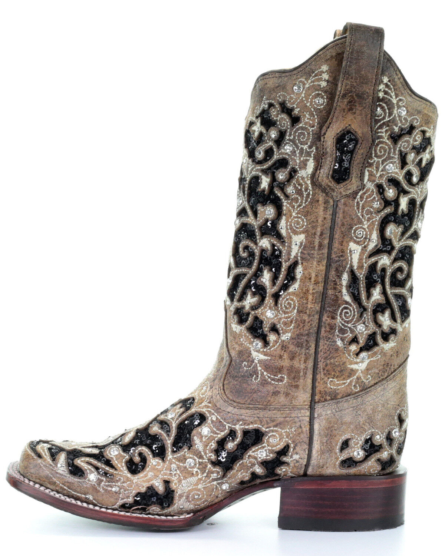 womens black sequin boots