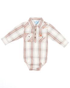 Cowboy Hardware Infant Boys' Tan Plaid Long Sleeve Snap Western Onesie , Tan, hi-res