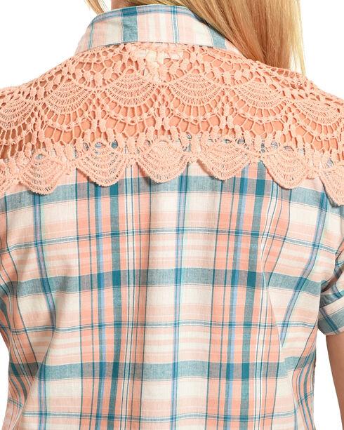 Henna Women's Blue Plaid Crochet Western Shirt , Peach, hi-res