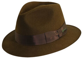 Indiana Jones Pinch Front Wool Felt Fedora Hat, Brown, hi-res
