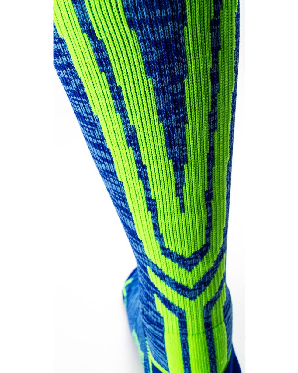 Cinch Men's Blue/Green Crew Length Boot Socks, Blue, hi-res