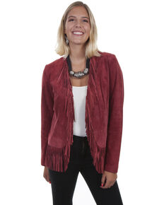 Leatherwear By Scully Women's Western Suede Fringe Jacket , Wine, hi-res