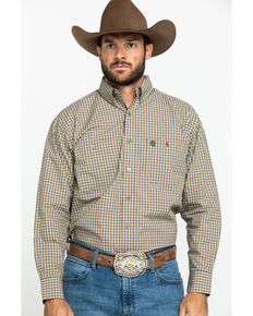 George Strait by Wrangler Men's Tan Small Plaid Long Sleeve Western Shirt , Tan, hi-res