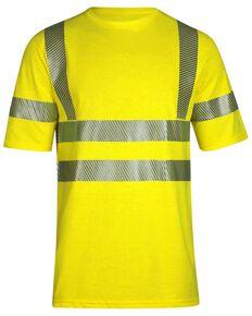 National Safety Apparel Men's Vizable FR Hi-Vis Pocket Short Sleeve Work Shirt - Tall, Bright Yellow, hi-res