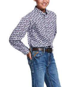Ariat Boys' Talladega Paisley Print Long Sleeve Western Shirt , White, hi-res