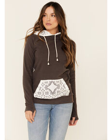 Ampersand Avenue Women's Charcoal Lace Contrast Hooded Sweatshirt , Charcoal, hi-res