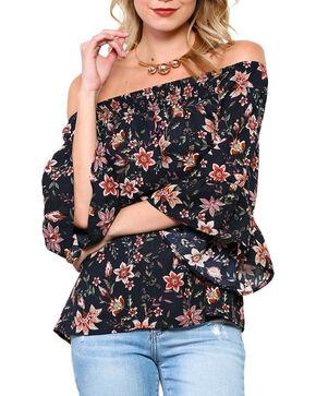 CES FEMME Women's Black Floral Off The Shoulder Bell Sleeve Top , Black, hi-res