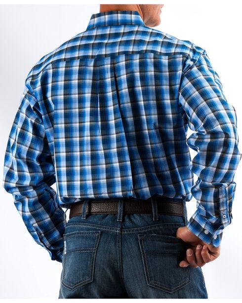 Cinch Men's Royal/Grey Plaid Button Down Western Shirt, Royal Blue, hi-res