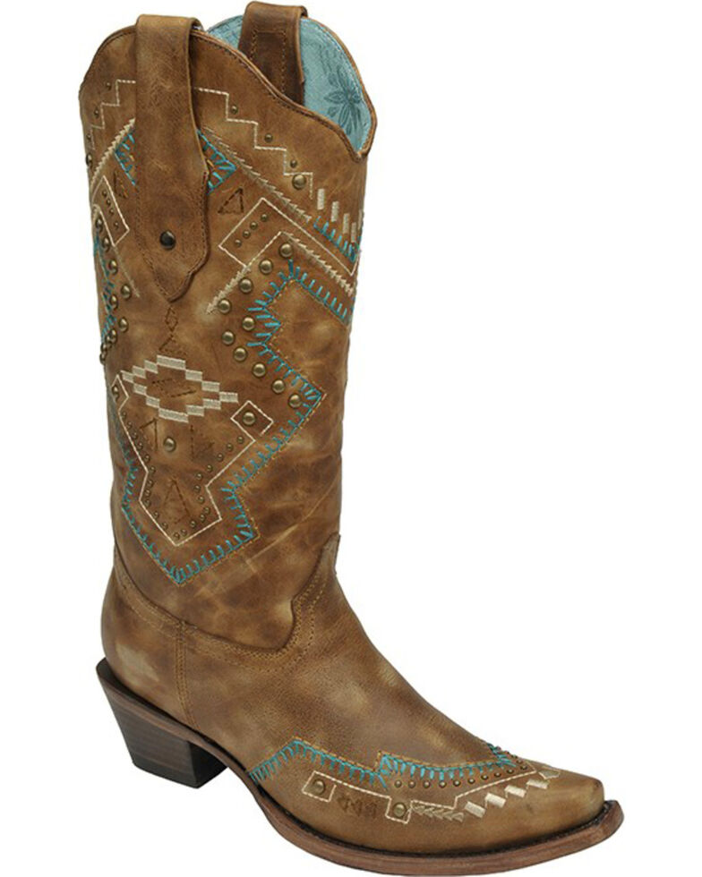 Corral Studded Southwestern Cowgirl Boots - Snip Toe, , hi-res