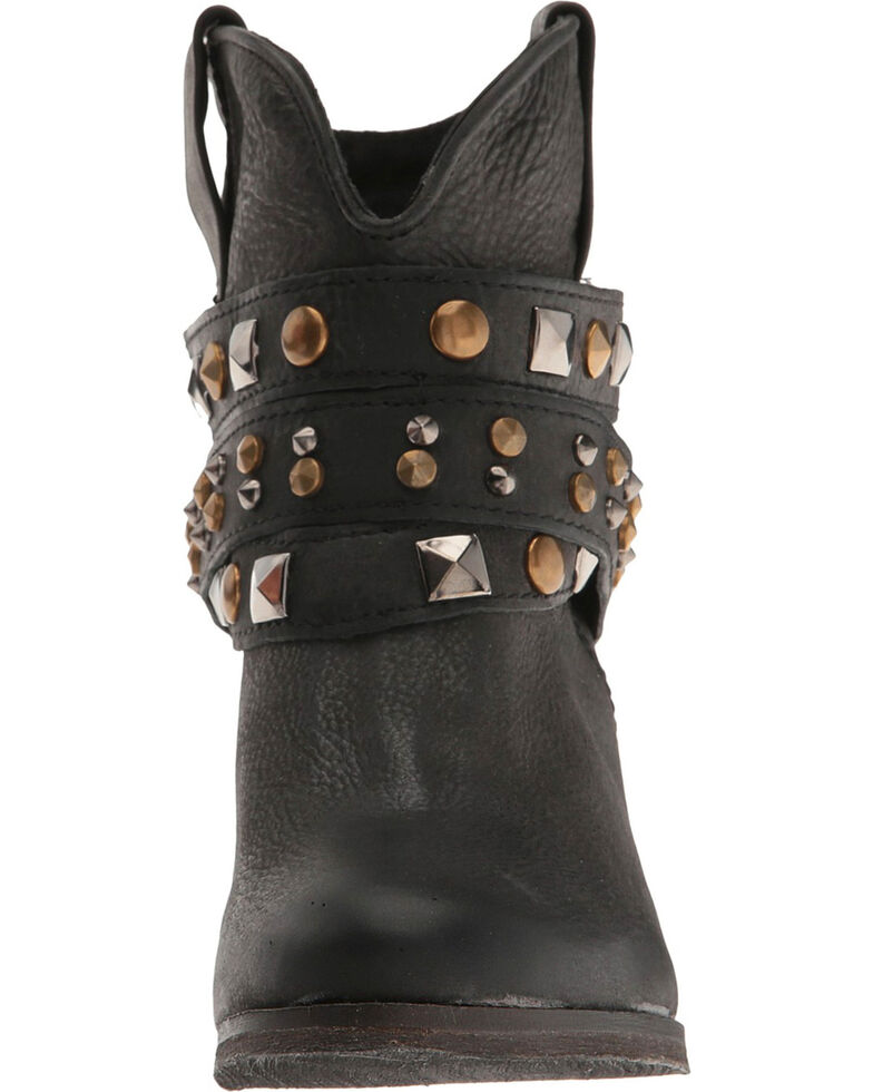 Corral Women's Black Studded Strap Booties - Round Toe , Black, hi-res