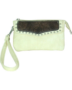 Savana Women's Faux Leather Clutch Zip Wristlet , Cream, hi-res