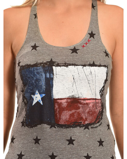 Bohemian Cowgirl Women's Texas Flag Star Tank, Grey, hi-res