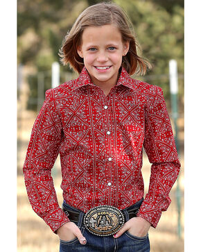 Cruel Girl Girls' Red Paisley Print Western Shirt , Red, hi-res