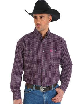 Wrangler George Strait Men's Printed Poplin Button Down Shirt, Black, hi-res