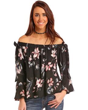 Panhandle Women's Black Floral Off The Shoulder Top , Black, hi-res