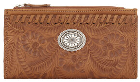 American West Women's Tan Tooled Foldover Snap Closure Wallet , Tan, hi-res