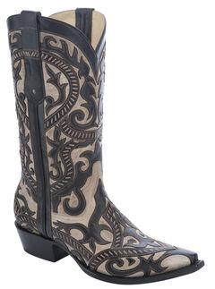 Corral Overlay Cowboy Boots - Snip Toe, Black, hi-res
