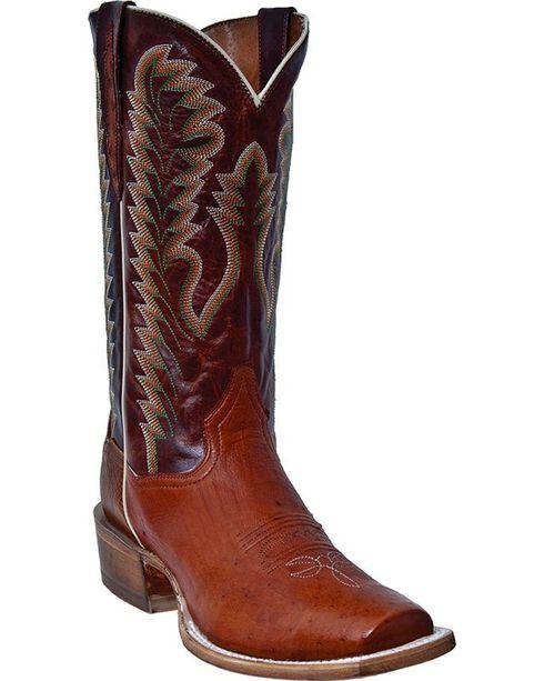 Dan Post Bender Smooth Ostrich Cowboy Boots - Square Toe, Cognac, hi-res