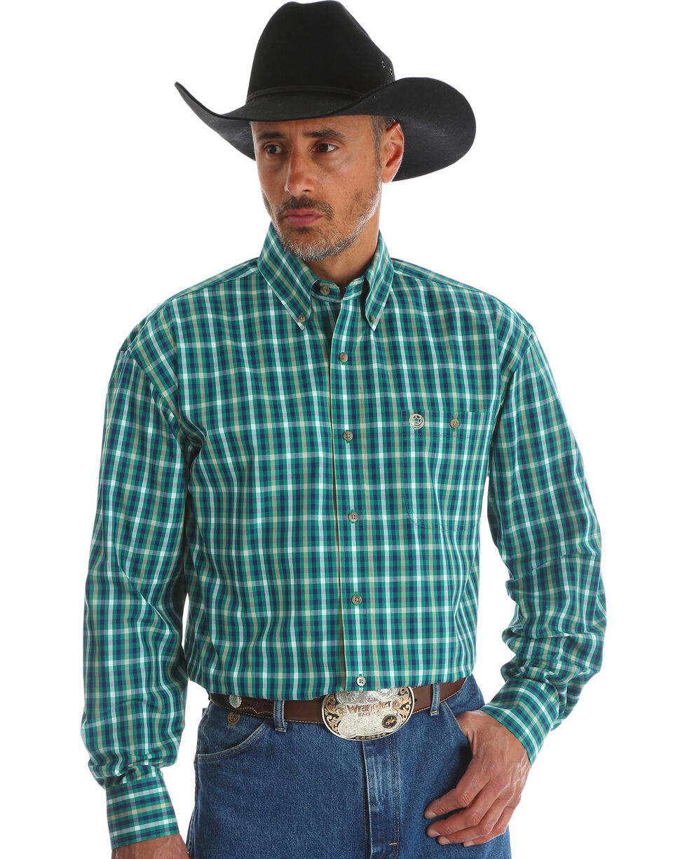 George Strait by Wrangler Men's Green Button Down Plaid Western Shirt , Green, hi-res