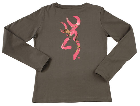Browning Women's Grey and Fuchsia Buckmark Long Sleeve T-Shirt  , Charcoal Grey, hi-res