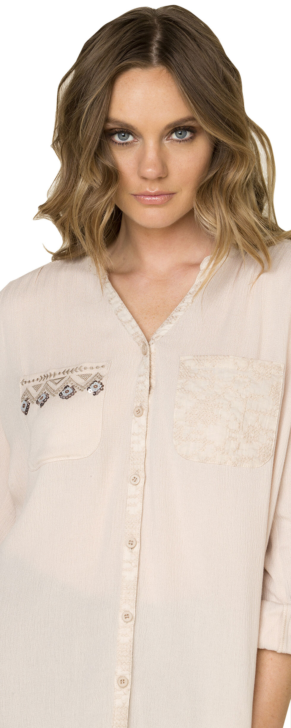 Miss Me Women's Sequined Sateen Top, Beige, hi-res