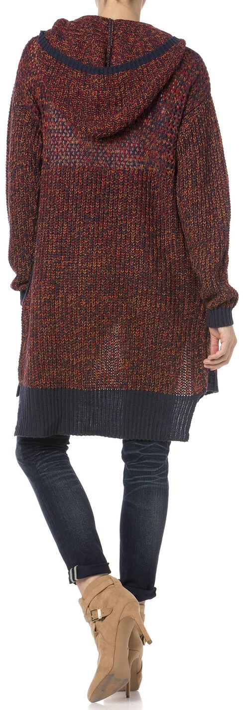 Miss Me Women's Burgundy Hooded Cardigan , Burgundy, hi-res