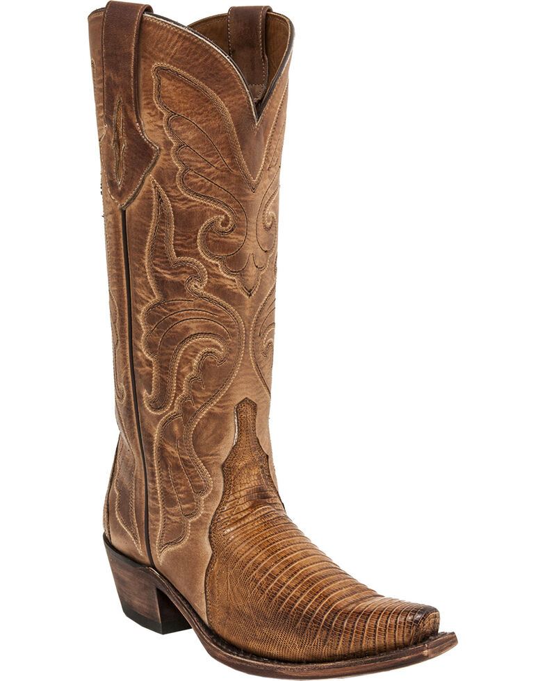 Lucchese Handmade Carmen Lizard Triad Cowgirl Boots - Snip Toe , Nutmeg, hi-res
