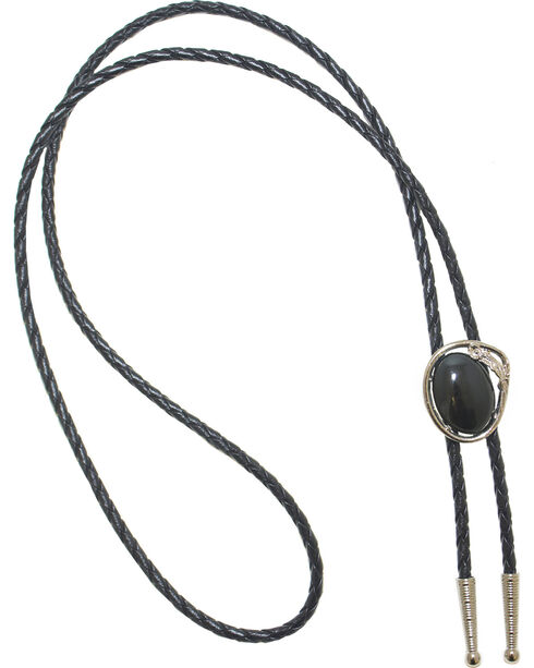 Western Express Black Stone Bolo Tie, Black, hi-res