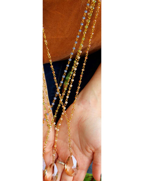 2 Queen B's Women's Jasmine Champagne Crystal Chain Necklace, Light Pink, hi-res